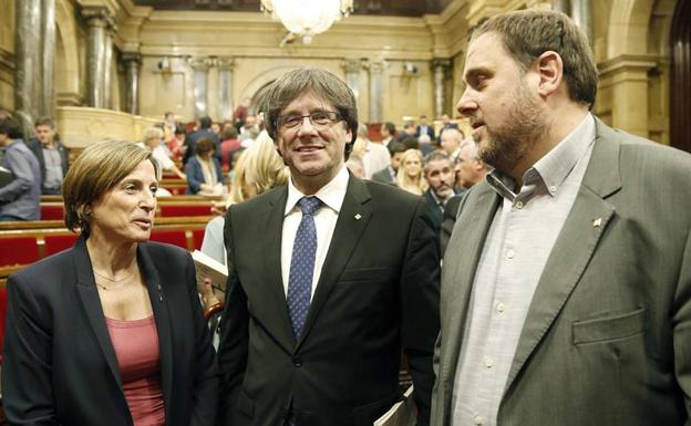 Forcadell, Puigdemont y Junqueras.