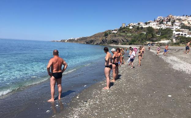 Imagen de la playa del Playazo, este domingo.