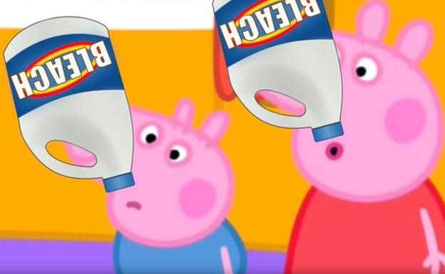 Peppa Pig, bebiendo lejía./YouTube