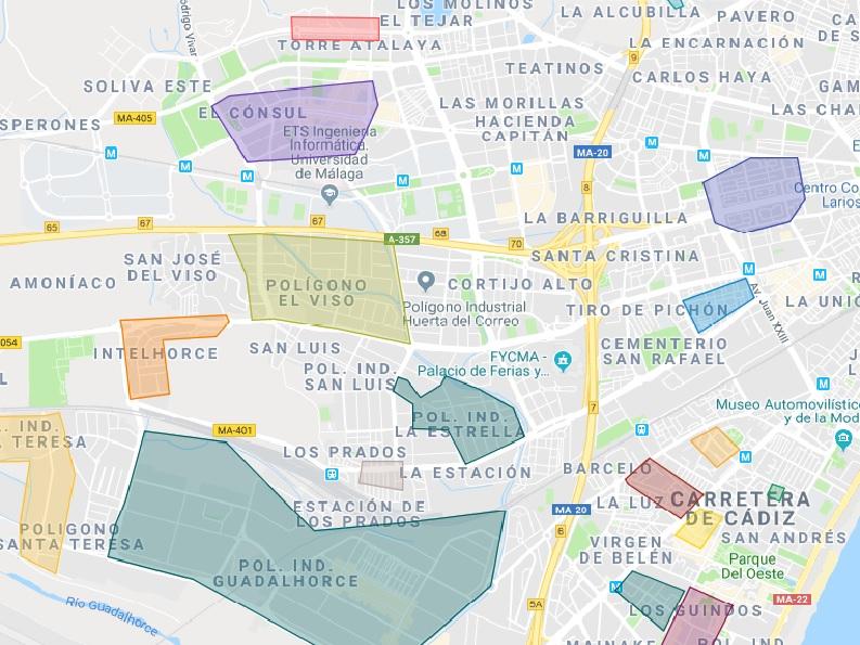 Mapa De Malaga Capital Por Barrios.Malaga Capital Del Barrio Inspirado En El Quijote Al De
